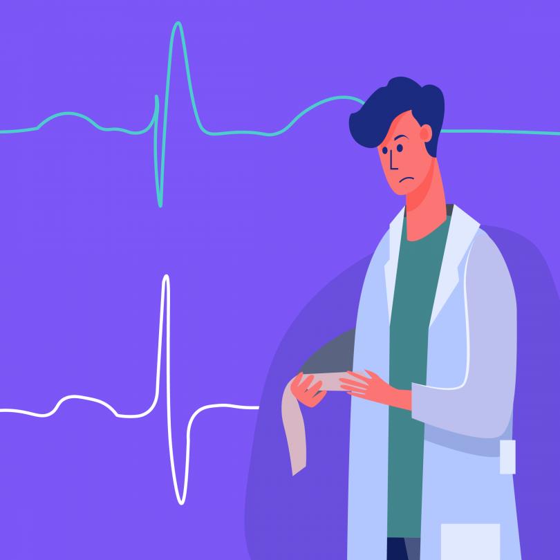A ilustração mostra um homem de jaleco na direita da imagem observando possíveis bloqueios de ramo em um papel. Ao fundo, marcas características do eletrocardiograma