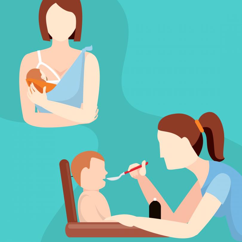 Na imagem há duas ilustrações sobre fundo verde-água. No quadrante superior esquerdo, uma mulher amamenta um bebê. No quadrante inferior esquerdo, uma mulher alimenta um bebê sentado em cadeirinha. As imagens estão relacionadas à suplementação de ferro na alimentação de lactentes.