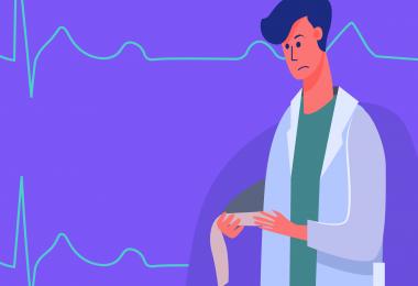 A ilustração mostra um homem de jaleco na direita da imagem observando possíveis bloqueios atrioventriculares em um papel. Ao fundo, marcas características do eletrocardiograma.
