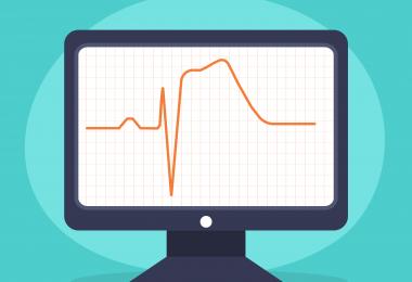 A ilustração mostra um monitor no centro da imagem simulando um exame de ECG que indica infarto.
