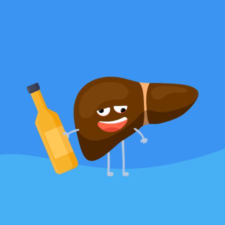 A ilustração mostra um fígado personificado, com olhos, boca, braços e pernas em estilo linear. O rosto tem uma expressão de alcoolizado e o fígado segura uma garrafa amarela com a mão direita. Imagem representativa de hepatite alcoólica.